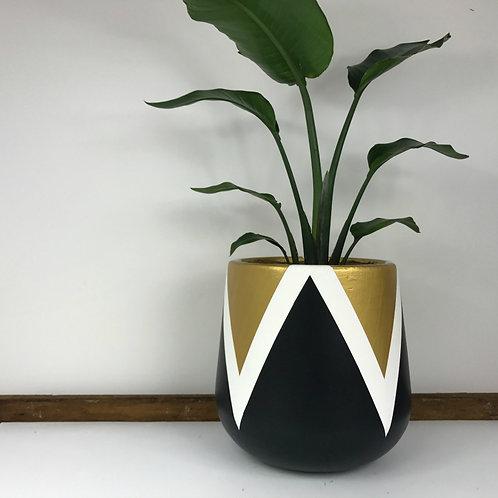 Indigo Earth Pot Lotus Design