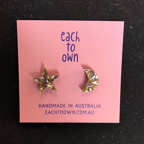 Each to Own Earrings - Glitter Star & Moon Studs
