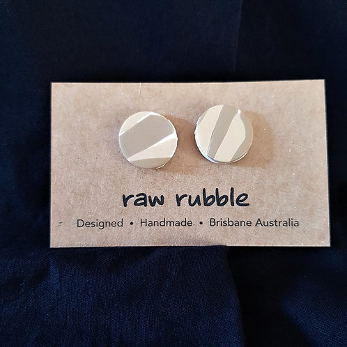 Raw Rubble - Circle Tan and Sand Stud Earrings