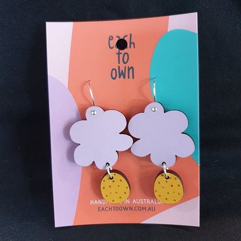 Each to Own Earrings - Handpainted Timber Cloud Earrings