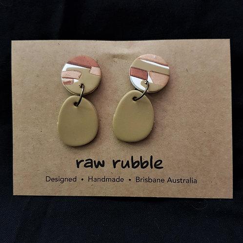 Raw Rubble - Bronze & Tan Drop Stud Earrings
