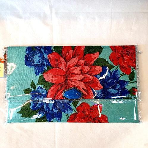 Vintage Design Clutch - Blue Red Flowers