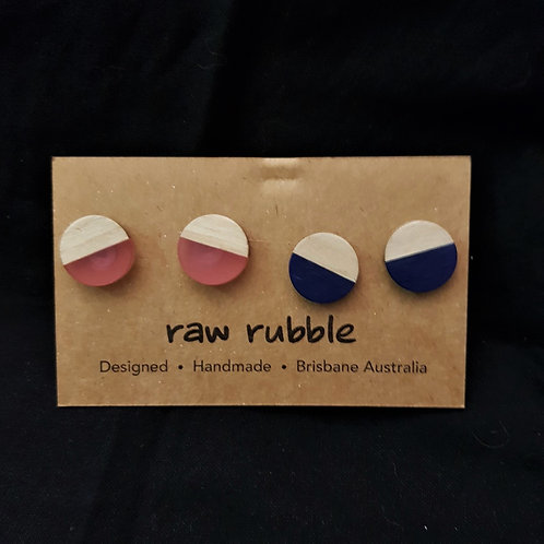 Raw Rubble - Wood and Resin Stud Earrings