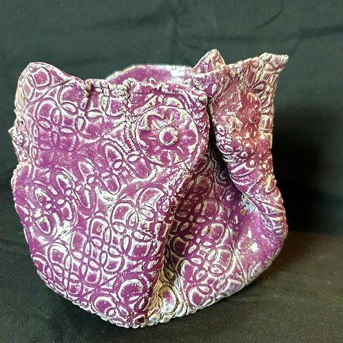 Mandy Lou Purple Patterned Ceramic Vase or Planter