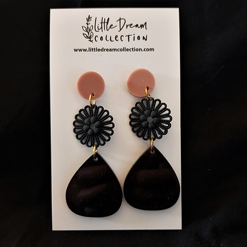 Little Dream Collection - Pink and Black Drop Earrings with flower detail