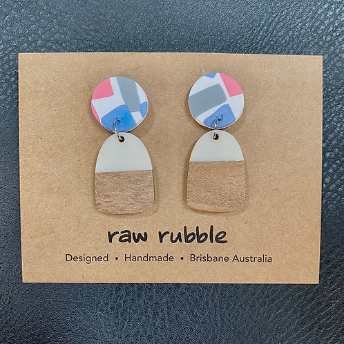 Raw Rubble Drop Pink & Blue White Drop Earrings
