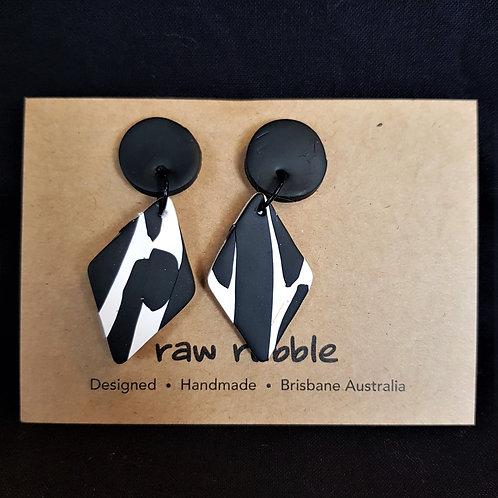 Raw Rubble - Black and White Diamond Drop Stud Earrings
