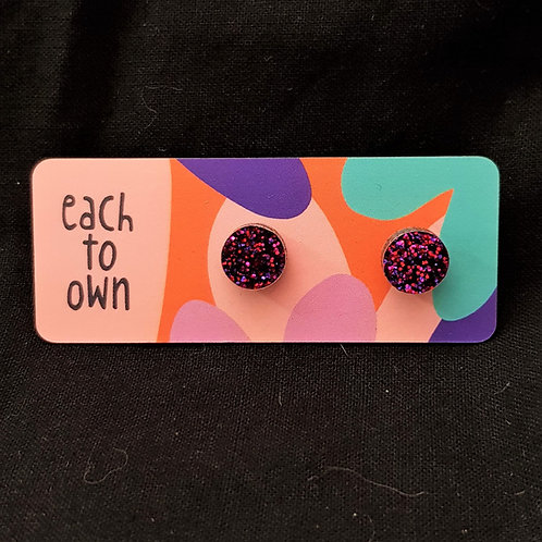 Each to Own Earrings - Pink Glitter Pop mini studs
