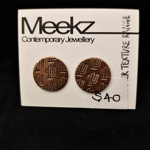 Meekz Jewellery - Circle Studs with Cactus Design Earrings