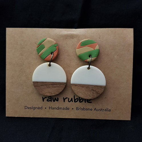 Raw Rubble - Clay and Wood Drop Stud Earrings