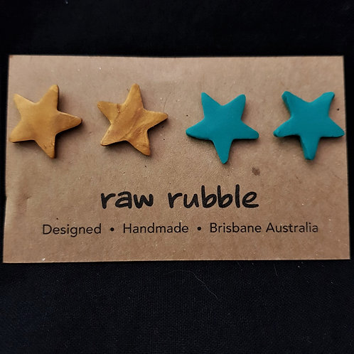 Raw Rubble - Bronze and Green Star Stud Earrings