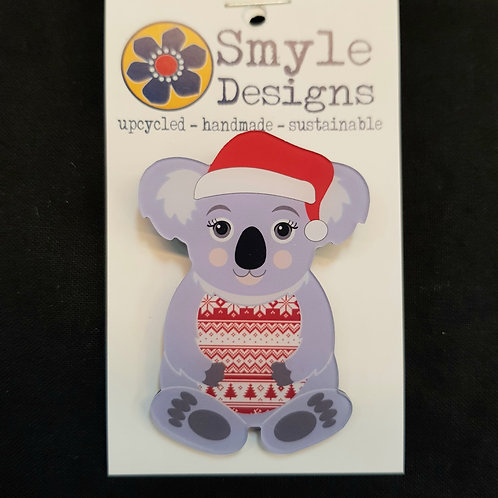 Smyle Designs Christmas Koala Brooch