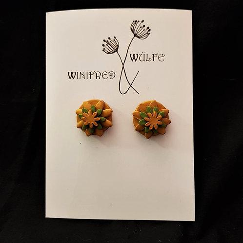 Winifred & Wulfe - Bronze & Green Clay Flower Earrings
