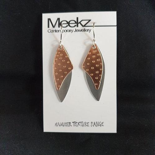 Meekz Jewellery - Silver and Copper Leaf Earrings