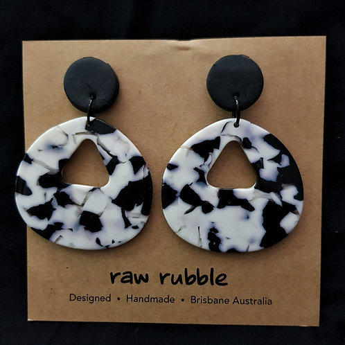 Raw Rubble -Black and White Clay and Acrylic Drop Stud Earrings