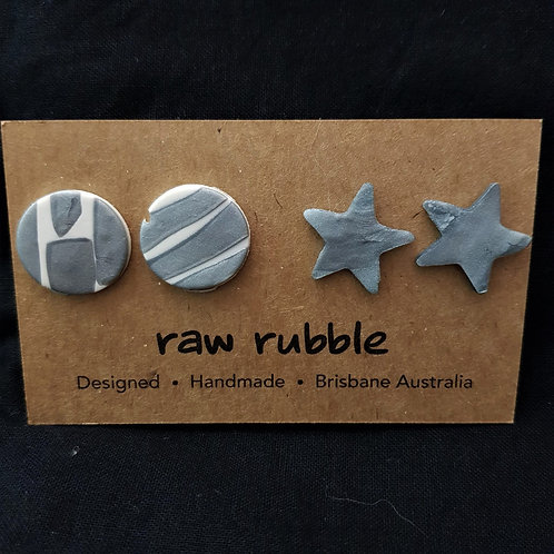 Raw Rubble - Circle and Star Stud Earrings