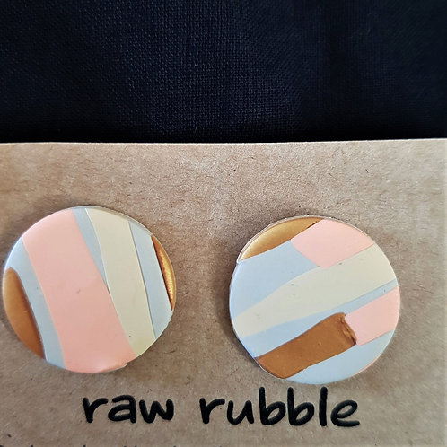 Raw Rubble - Circle Stud Earrings