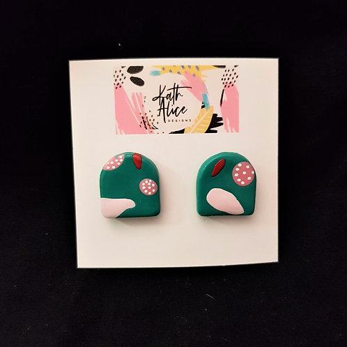 Kath Alice Designs - Green & Pink Half Circle Stud Earrings