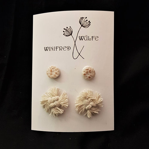 Winifred & Wulfe - White Clay & Macrame Earrings