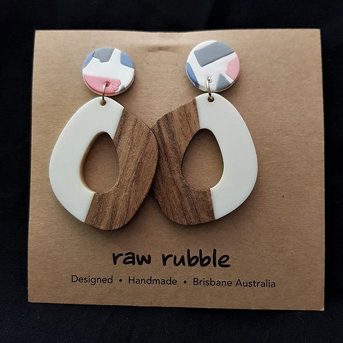 Raw Rubble - Pink, Grey & White Clay and Wood Drop Stud Earrings