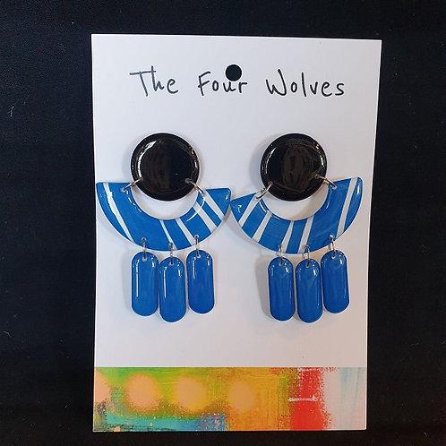 The Four Wolves - Bright Blue Resin Earrings