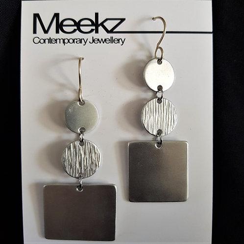 Meekz Jewellery - Silver Circle and Square Earrings