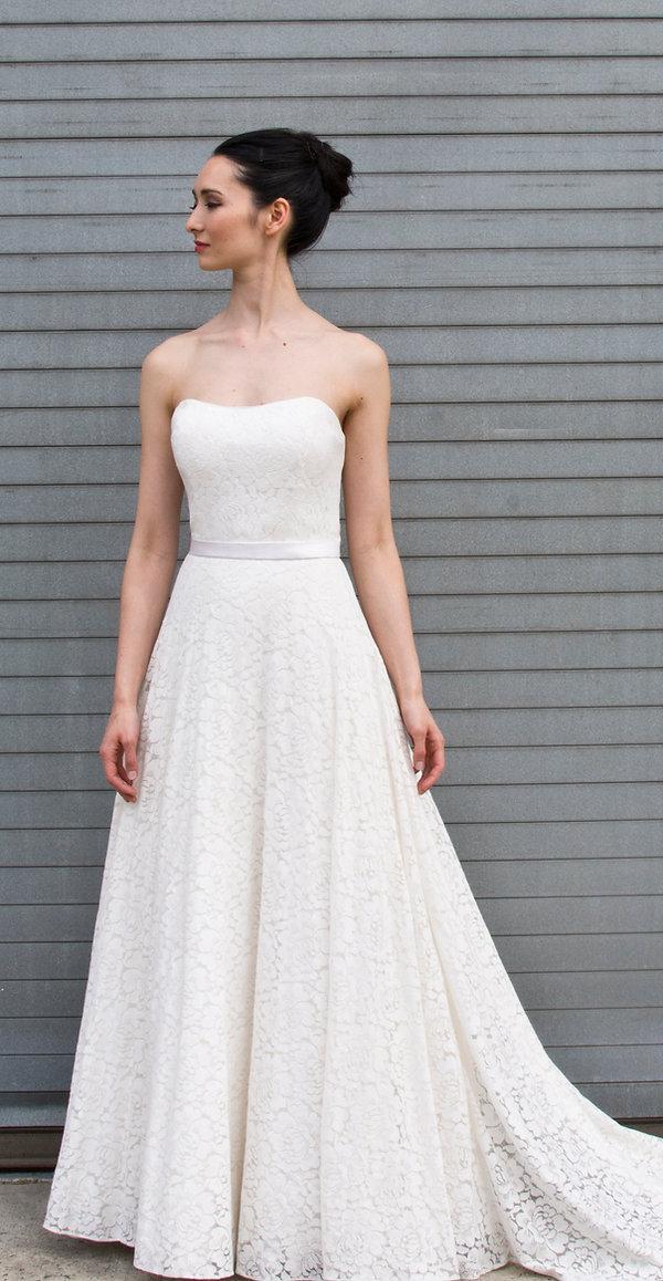 the cotton bride, wedding dress, bridal gown, simple, natural, cool, light, airy, vintage, destination, custom, plus-size, lace, strapless, waist-cut, barn