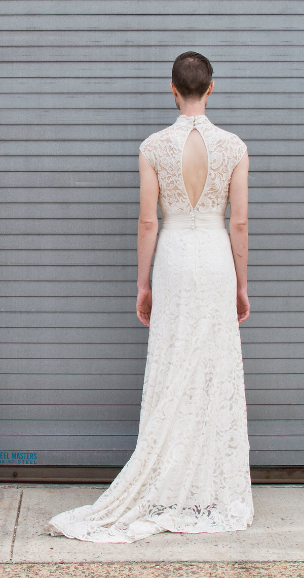 the cotton bride, wedding dress, bridal gown, simple, natural, cool, light, airy, vintage, destination, custom, plus-size, lace, fitted slim, sleeves, chinese collar, key-hole back