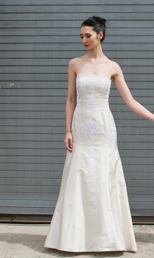 the cotton bride, wedding dress, bridal gown, simple, natural, cool, light, airy, vintage, destination, custom, plus-size, lace, strapless, slim, fitted, appliques