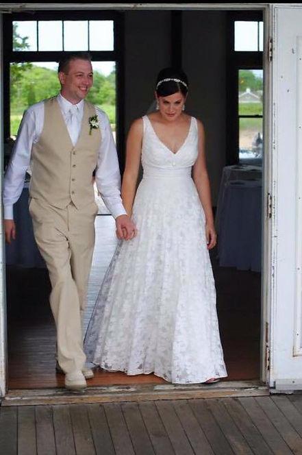 wedding dress, bridal gown, simple, natural, cotton, vintage, destination, lace, v-neck, straps