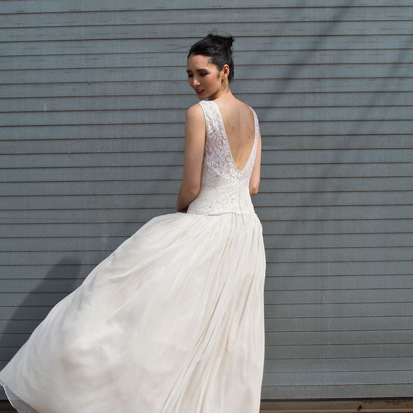 the cotton bride, wedding dress, bridal gown, simple, natural, cool, light, airy, vintage, destination, custom, plus-size, lace, sleeves, illusion, long-torso, full ballgown skirt