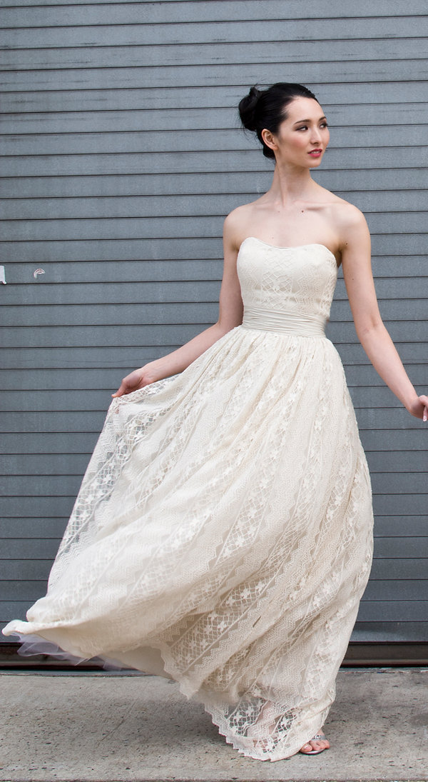 the cotton bride, wedding dress, bridal gown, simple, natural, cool, light, airy, vintage, destination, custom, plus-size, lace, strapless, full ballgown skirt,