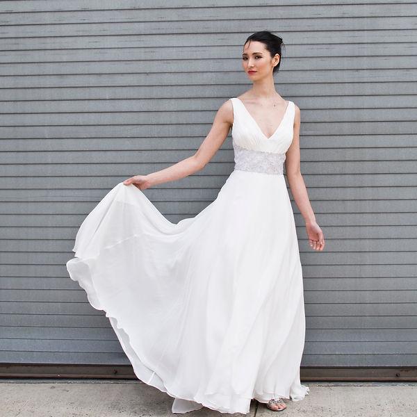 the cotton bride, wedding dress, bridal gown, simple, natural, cool, light, airy, vintage, destination, custom, plus-size, v-neck, silk chiffon, flowy