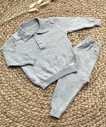 Cotton Polo Set - Grey
