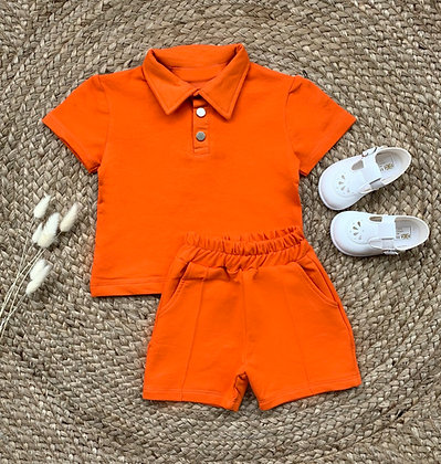 Caleb Shirt and Short Set - Orange