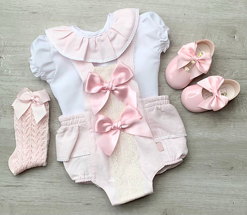 Chloe Blouse and Romper Baby Pink