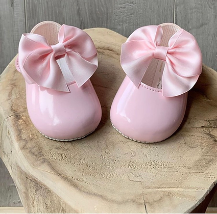 Baby girl large bow shoes (pink)