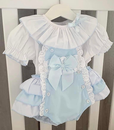 Roma Blouse and Baby Blue Bow Romper
