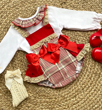 Double Bow Tartan Blouse and Romper