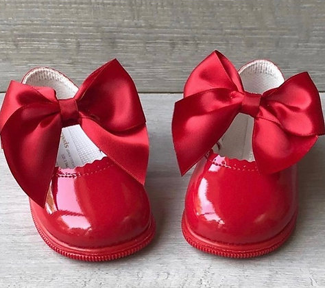 Hard Sole Big Bow Shoes (Red)