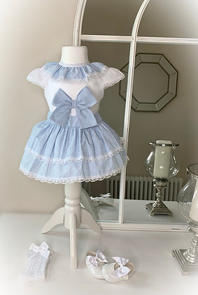 Hollie Bow blouse and Skirt ( Blue)