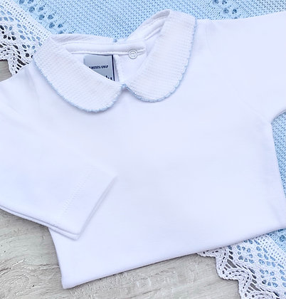 Babidu Long sleeved Peter pan collar body suits with Blue Trim.