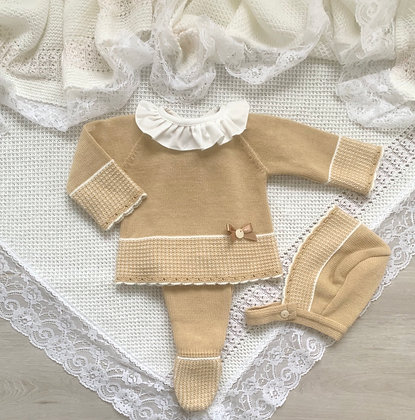 Knitted 3 Piece Set (Camel)