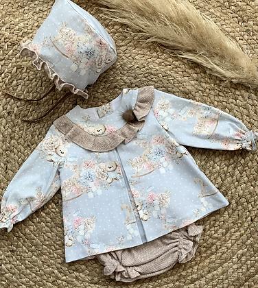 Teddy Pom Pom Dress and Bonnet