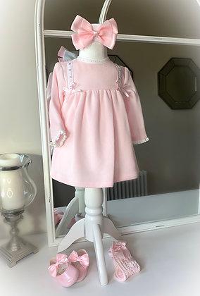 Winter ribbon Dress with Bonnet