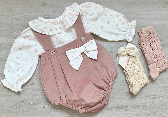Dusky pink Bow Romper and Blouse