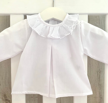 Pleated Bow Collar Blouse