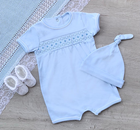 Baby Blue Smocked Romper and Hat