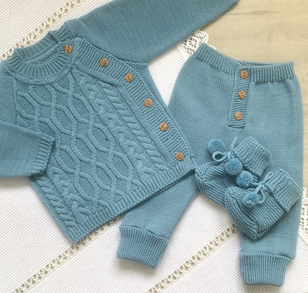 Boys set with Booties (Blue)