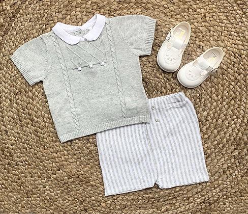 Grey Striped Two piece short set